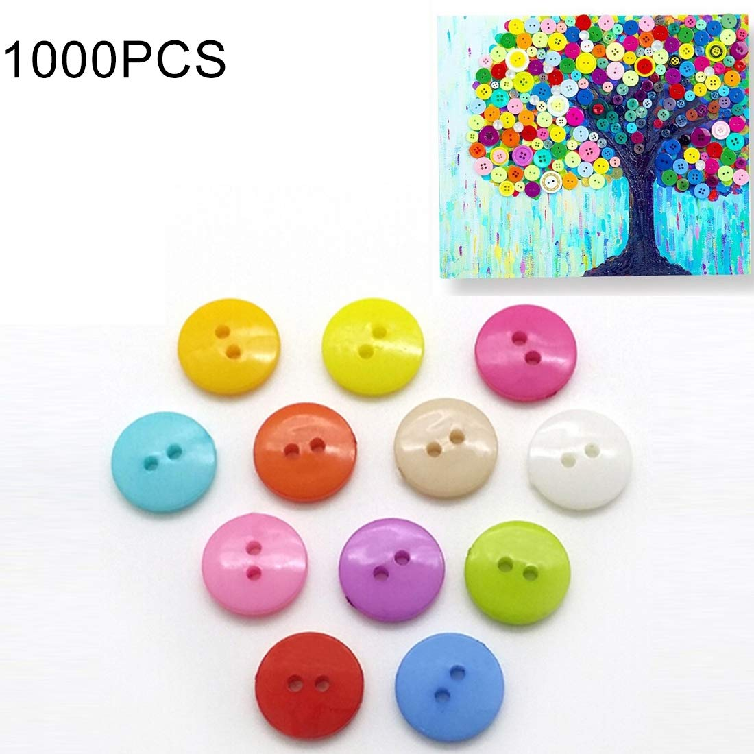Tangyongjiao Home Decorative Supplies 1000 PCS Assorted Mixed Color 2 Holes Buttons for Sewing DIY Crafts Children Manual Button Painting, Random Color, Diameter: 10mm by Tangyongjiao