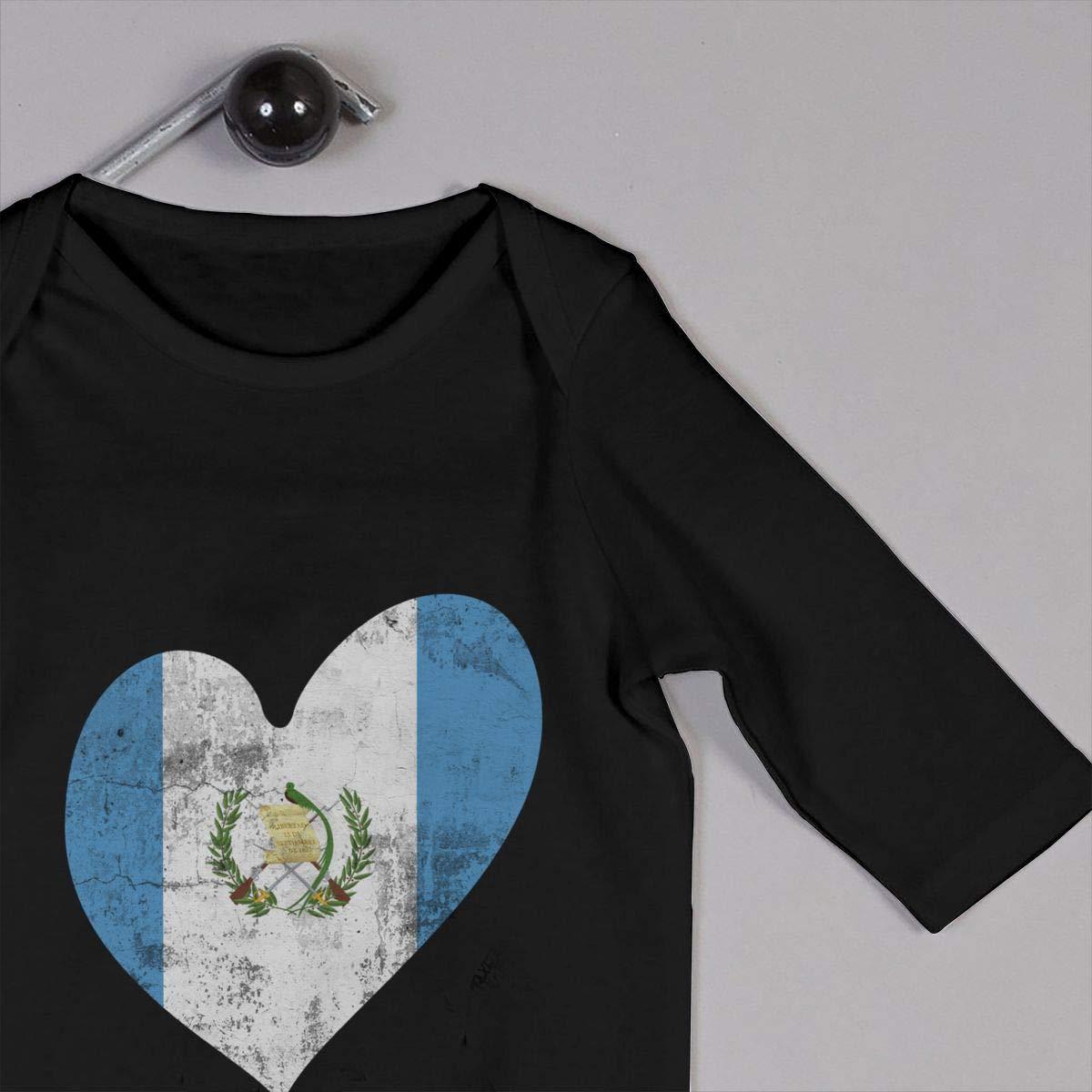 UGFGF-S3 Guatemala Heart Flag Toddler Baby Long Sleeve Bodysuit Toddler Jumpsuit