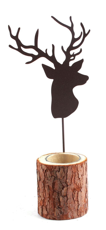 Carousel Home Single Wood Bark And Metal Reindeer Christmas Tealight Candle Holder 28.5cm