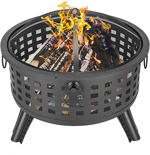 Goujxcy 26″ Round Lattice Fire Pit Outdoor