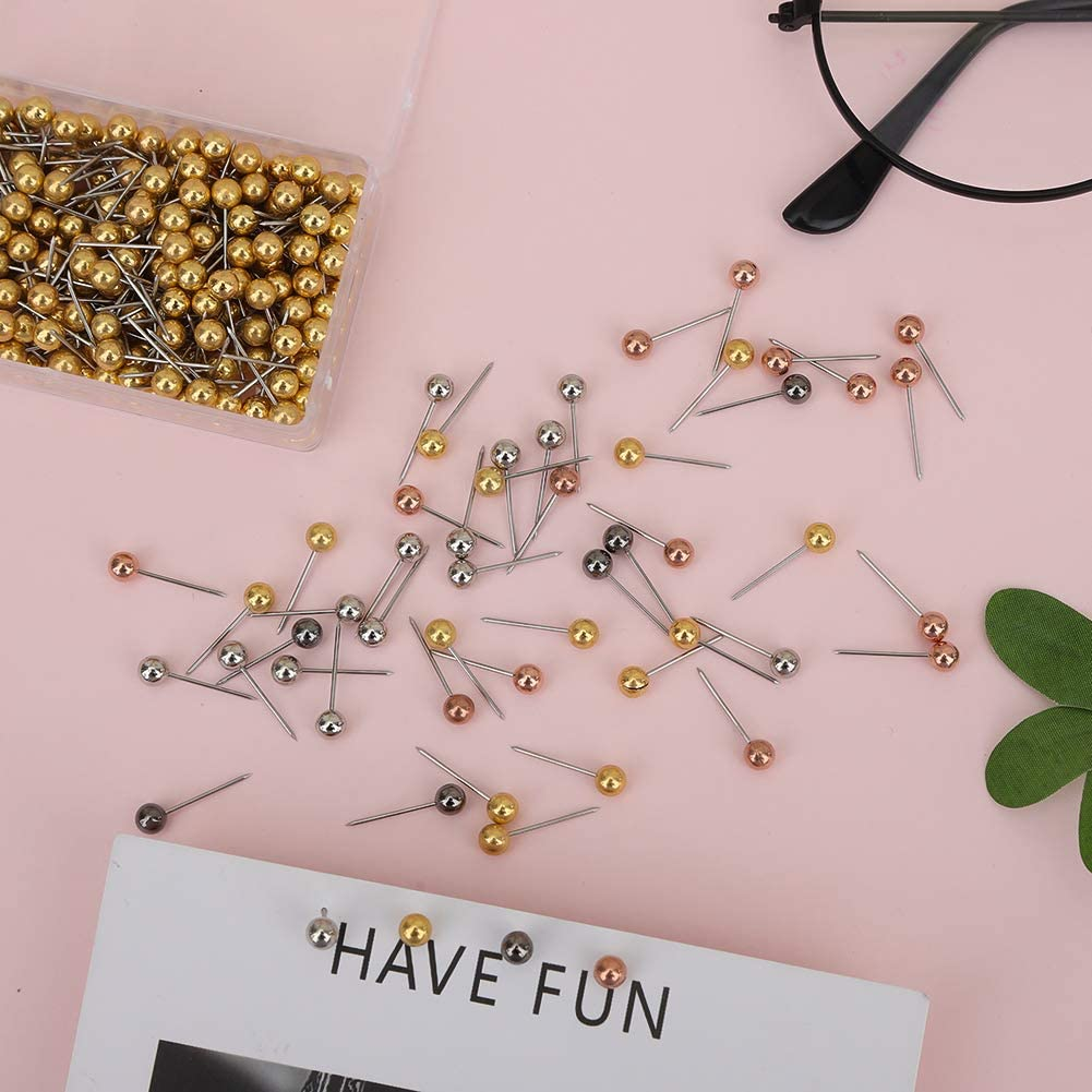 0.16in Head 0.43in Piont Length Fabric Marking Cork Board Meifyomng 1000Pcs Map Tacks Multicolored Map Push Pins for World Map