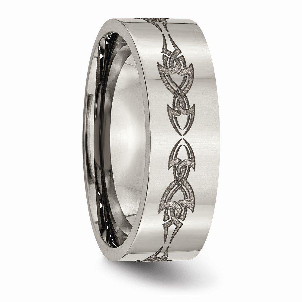Sonia Jewels Titanium Flat 8mm Laser Design Polished Wedding Band