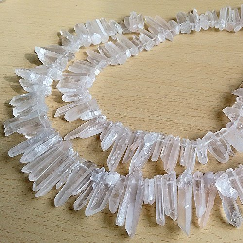 Raw Natural Rock Crystal Quartz Point Beads 15 inches Strand Rough Clear Quartz Pointed 20mm to 30mm Top Drilled (Crystal Quartz Jewelry)
