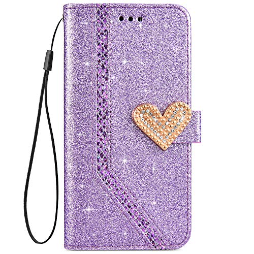 IKASEFU Shiny Rhinestone Diamond Sparkly Bling Glitter Luxury Wallet with Card Holder Flash Pu Leather Magnetic Flip Case Protective bumper Cover Case Compatible with iPhone 7/8,purple