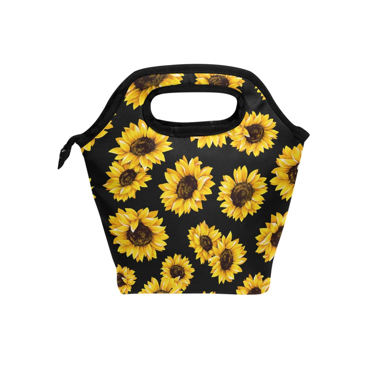 Floral Flower Lunch Boxes Lunchboxes Meal Prep Handbag for Outdoors School Office Naanle Sunflower Insulated Zipper Lunch Bag Cooler Tote Bag for Adult Teens Kids Girls Boys Men Women