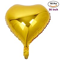 ZOOYOO Heart-shaped Foil Mylar Helium Balloon Love Balloons For Birthday Party Wedding And Valentine's Day Decorations Gold 36 inch 10pcs