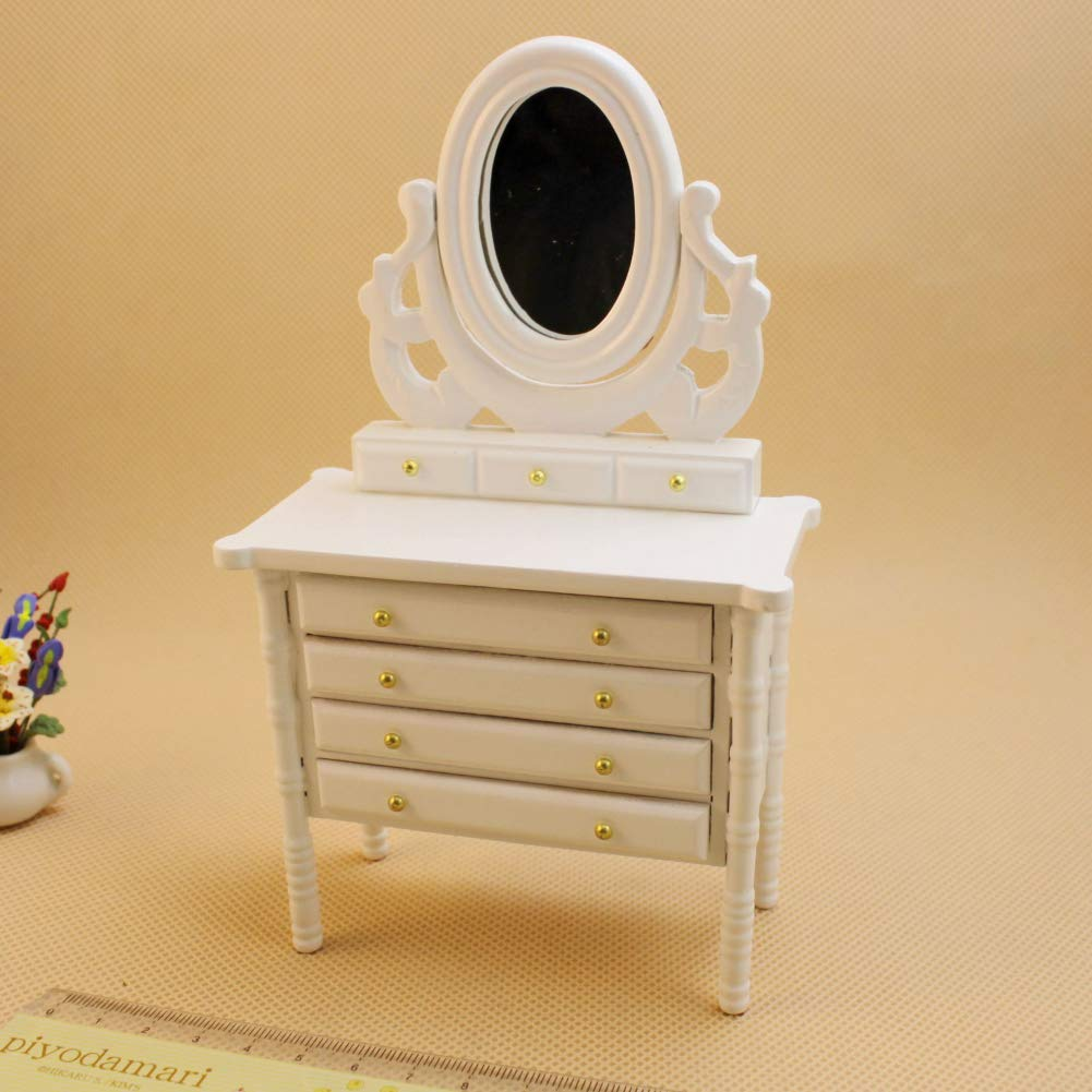 Ocamo 1 12 Kids Mini White Simulate Princess Style Dresser for Doll House