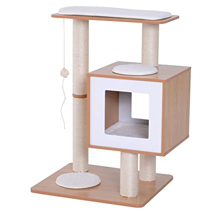 Amazon Com Pawhut 31 Modern Cat Tree Scratching Post Oak Wood
