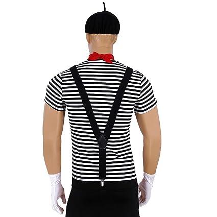 inlzdz Disfraz de Mimo para Hombre Incluye Camiseta Rayas de ...
