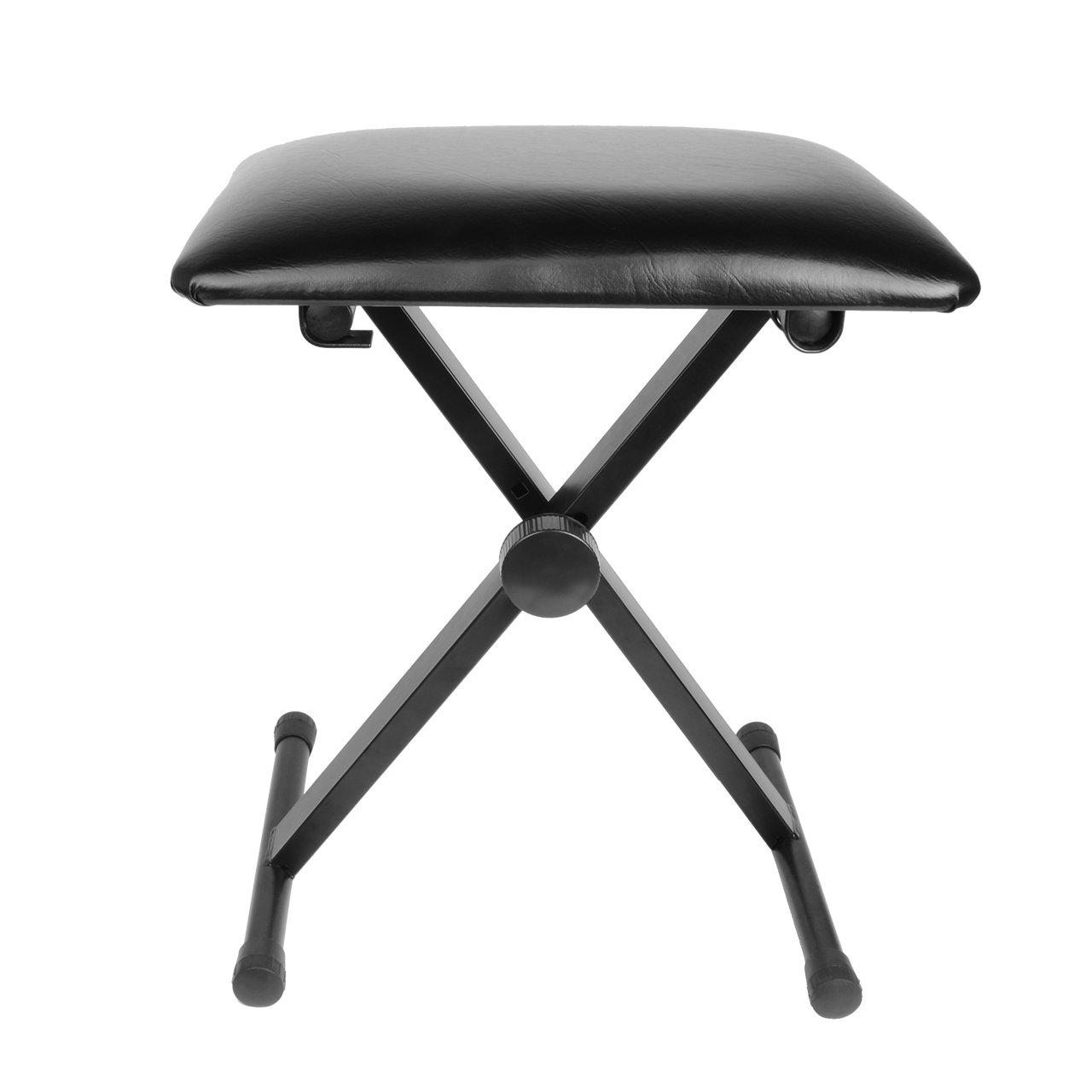 SaveOnMany ® Adjustable Padded Piano Keyboard Bench Seat W/ Rubber Feet Stool X style Folding Chair GZA-00514