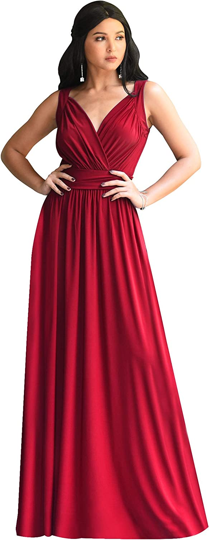 KOH KOH Womens Long Sleeveless Flowy Bridesmaid Cocktail Evening Gown Maxi Dress