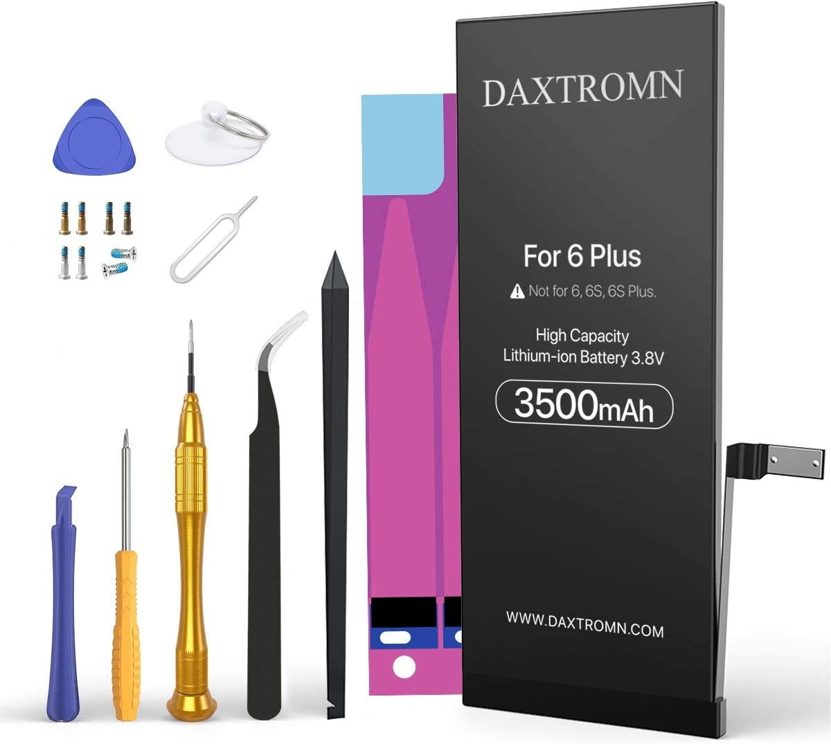 DAXTROMN 3500mAh Battery for iPhone 6 Plus, High Capacity Replacement Battery 0 Cycle, with Complete Repair Tool Kits and Adhesive Strips - 24-Month Warr