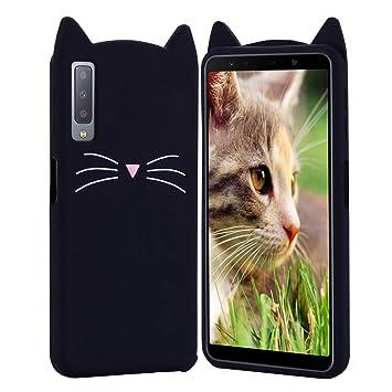 HopMore Gato Funda para Samsung Galaxy A7 2018 Silicona Motivo 3D Divertidas Kawaii Carcasa Samsung A7 2018 Ultrafina Resistente Case Antigolpes Caso ...