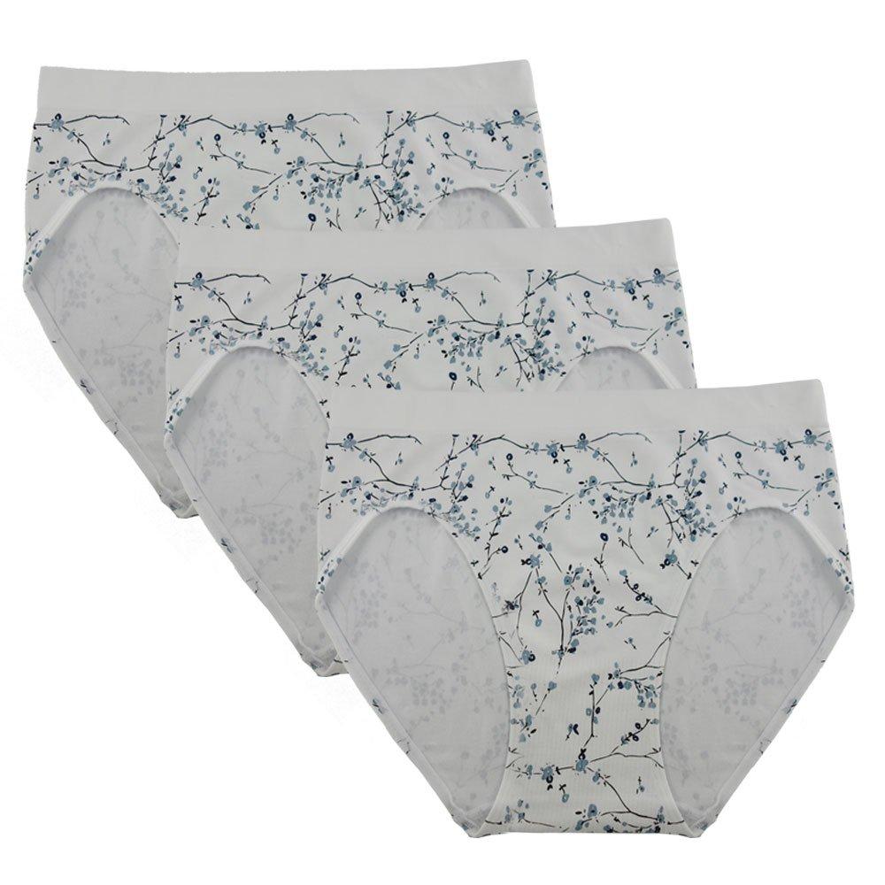 FEM Women's Underwear Seamless Briefs High-Cut Panties - 3 Pack or 4 Pack
