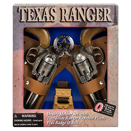(DOUBLE HOLSTER Toy cap Gun new Revolver Edison Giocattoli TEXAS RANGER BADGE !!! For Ages)