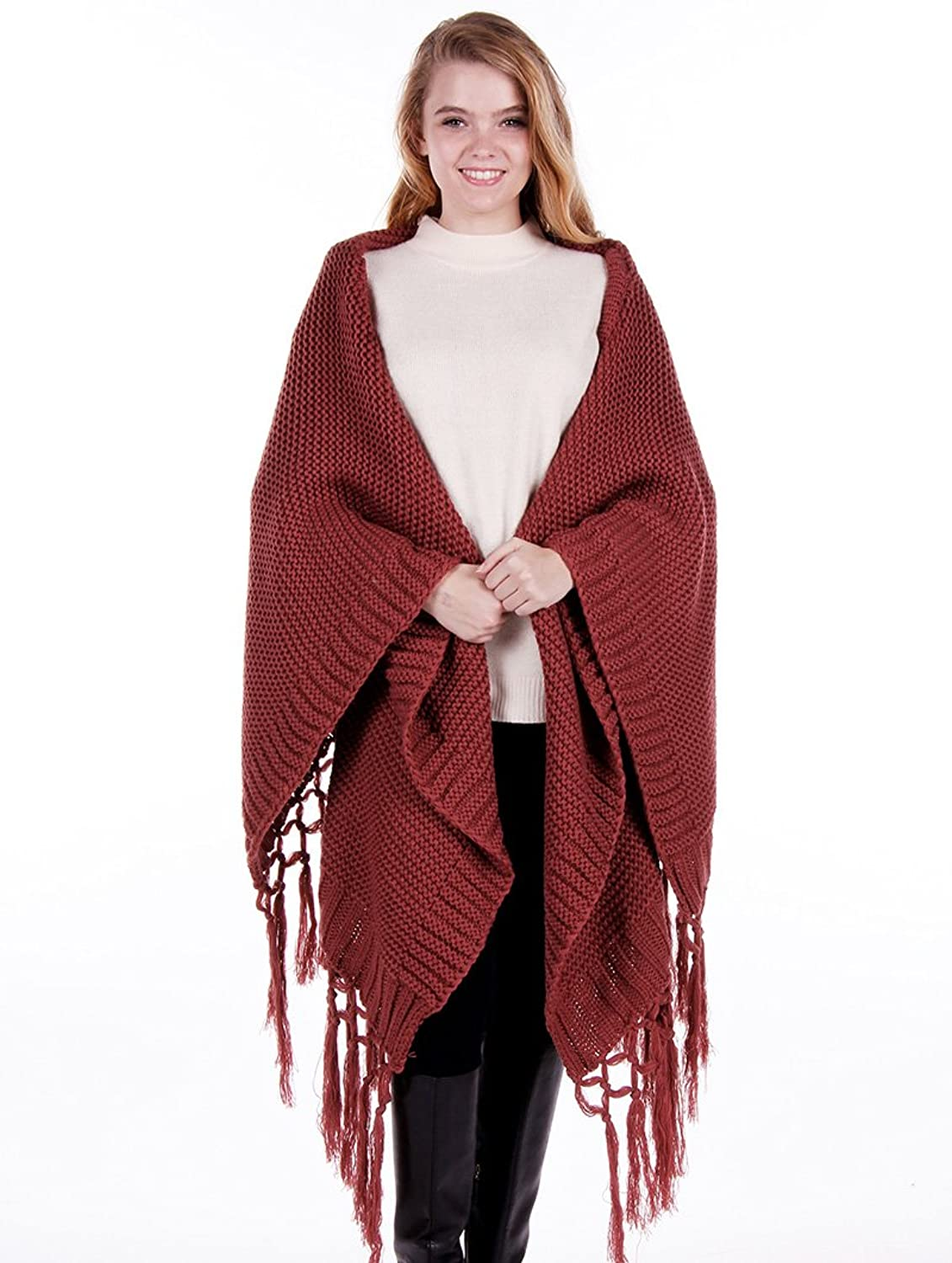 Parisian Chic Scarf Knitted Cape Poncho Tassel X Acrylic One Size Winter Knit burgundy