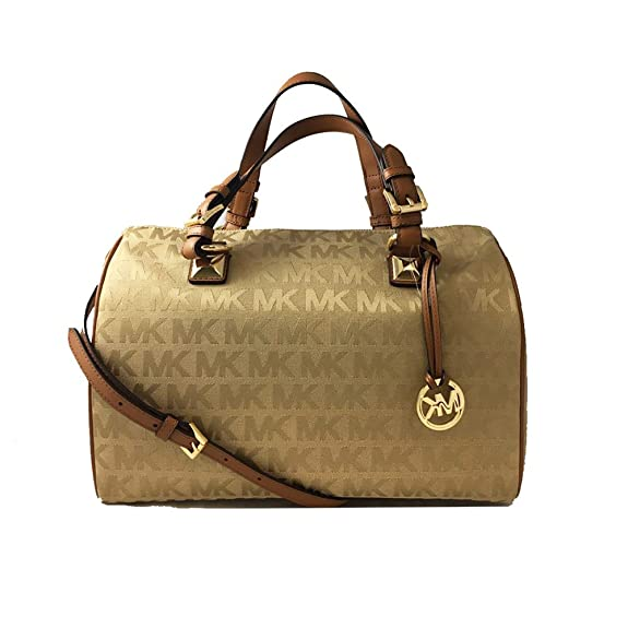a7299bf8d6d0 Amazon.com: MICHAEL Michael Kors Womens Grayson Jacquard Satchel Handbag  Tan Large: Shoes