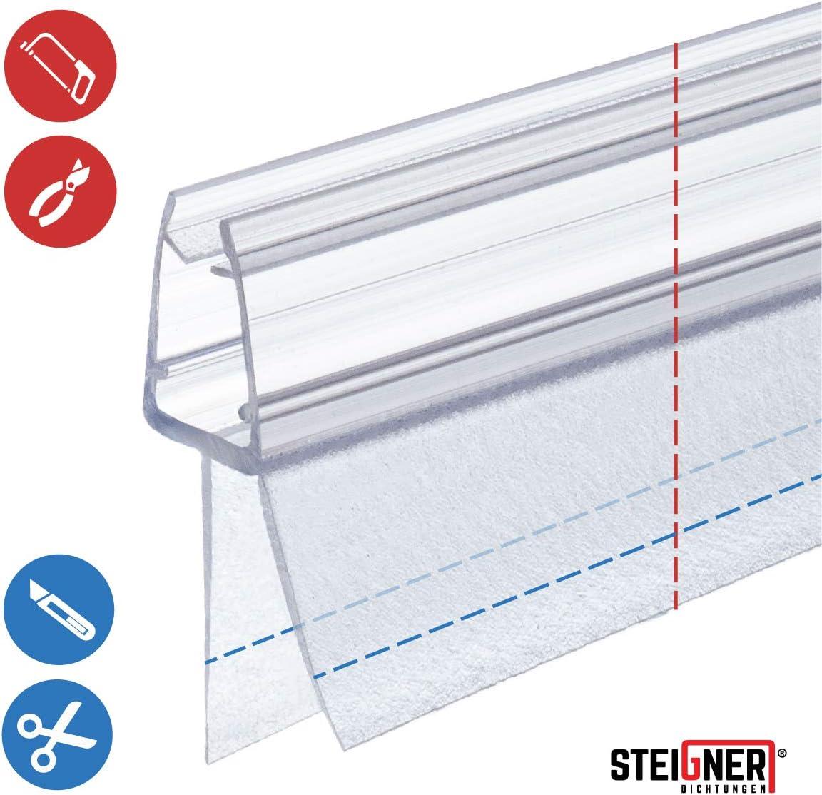 STEIGNER Duschdichtung 30cm Gerade PVC Ersatzdichtung f/ür Dusche Glasst/ärke 5//6 mm UK33-06