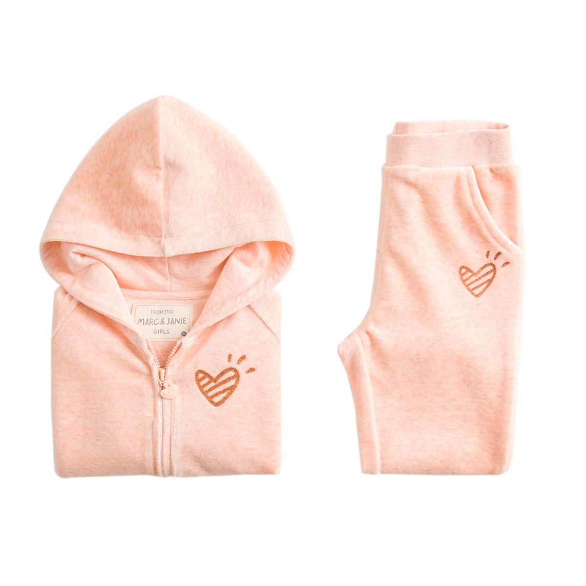 marc janie Baby Girls Kids 2 Piece Set Velvet Hoodie and Pants Set