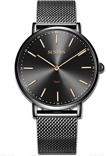 SUNVEN Relojes para Hombre Reloj de Marca de Acero Negro Resistente al Agua para Hombre Moda de Negocios Informal súper Delgada y Lujosa Cuarzo analógico (42, Negro): Amazon.es: Relojes