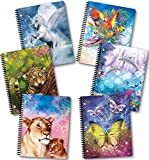 New Generation - Fantasy - 1 Subject 70 Sheets 8' x 10.5' wirebound Spiral Notebook , 6 PACK ,WIDE Ruled , Interactive School Products uses cutting edge 3D Animation technology - SEE THE MAGIC