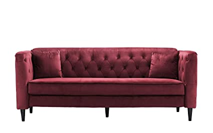 Merveilleux Mid Century Tufted Velvet Sofa, Living Room Couch With Tufted Buttons (Red)