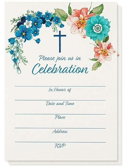 Paquete De 50 Invitaciones Religiosas Tarjetas De