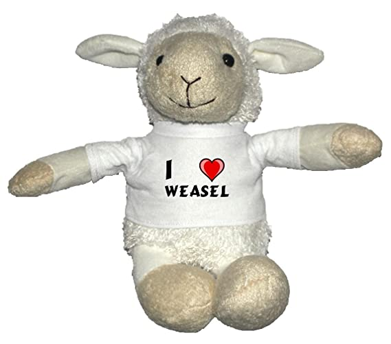 Plush White Sheep with I Love Weasel T-shirt (first name/surname/nickname)