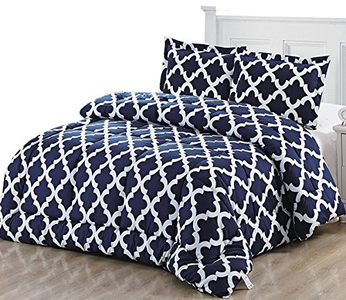 Printed Comforter Set (Queen, Navy) with 2 Pi...