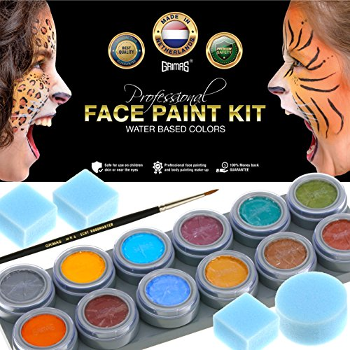 Indian Body Paint Costume (Face Paint Kit with 12 Professional Non-Toxic Color Paints, 100% Water Activated, 4 Sponges, 1 Pro-Quality Brush, Safe with Kids & Adults, Best Face Painting Palette Set by Grimas)