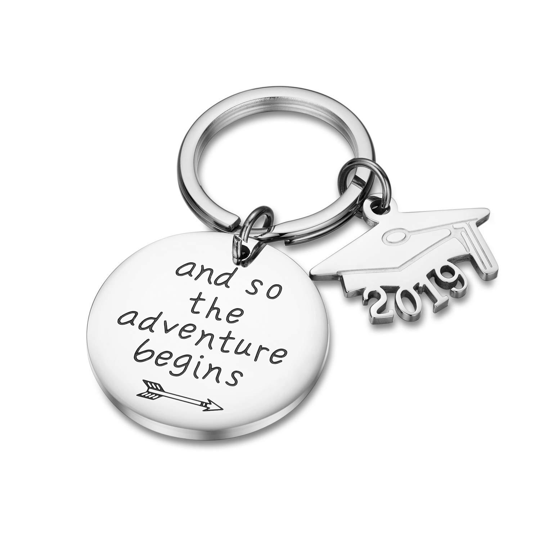 CJ&M Llavero de graduación y así la aventura comienza llavero de graduación llavero inspirador joyas regalo inspirador para niñas y niños