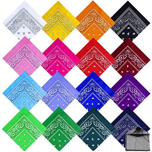 URATOT 16 Pieces Paisley Bandanas Cowboy Bandana Handkerchiefs Paisley Print Head Wrap Scarf, Assorted 16 Colors (Mixed 16 colors A)
