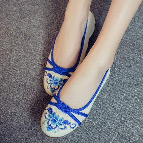 ZLL Gestickte Schuhe, Sehnensohle, ethnischer Stil, weibliche Tuchschuhe, Mode, bequem, lässig blue