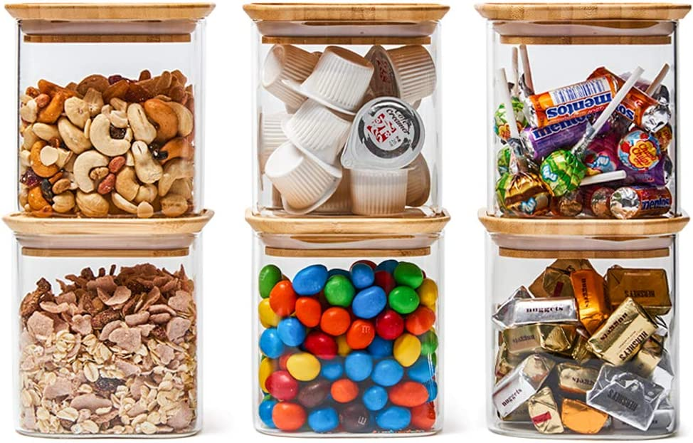 EZOWare 6 Piece Stackable Clear Glass Jar Set, Square Air Tight Kitchen Food Storage Canister with Lid for Candy, Cookie, Rice, Sugar, Flour, Pasta, Nuts - 24oz