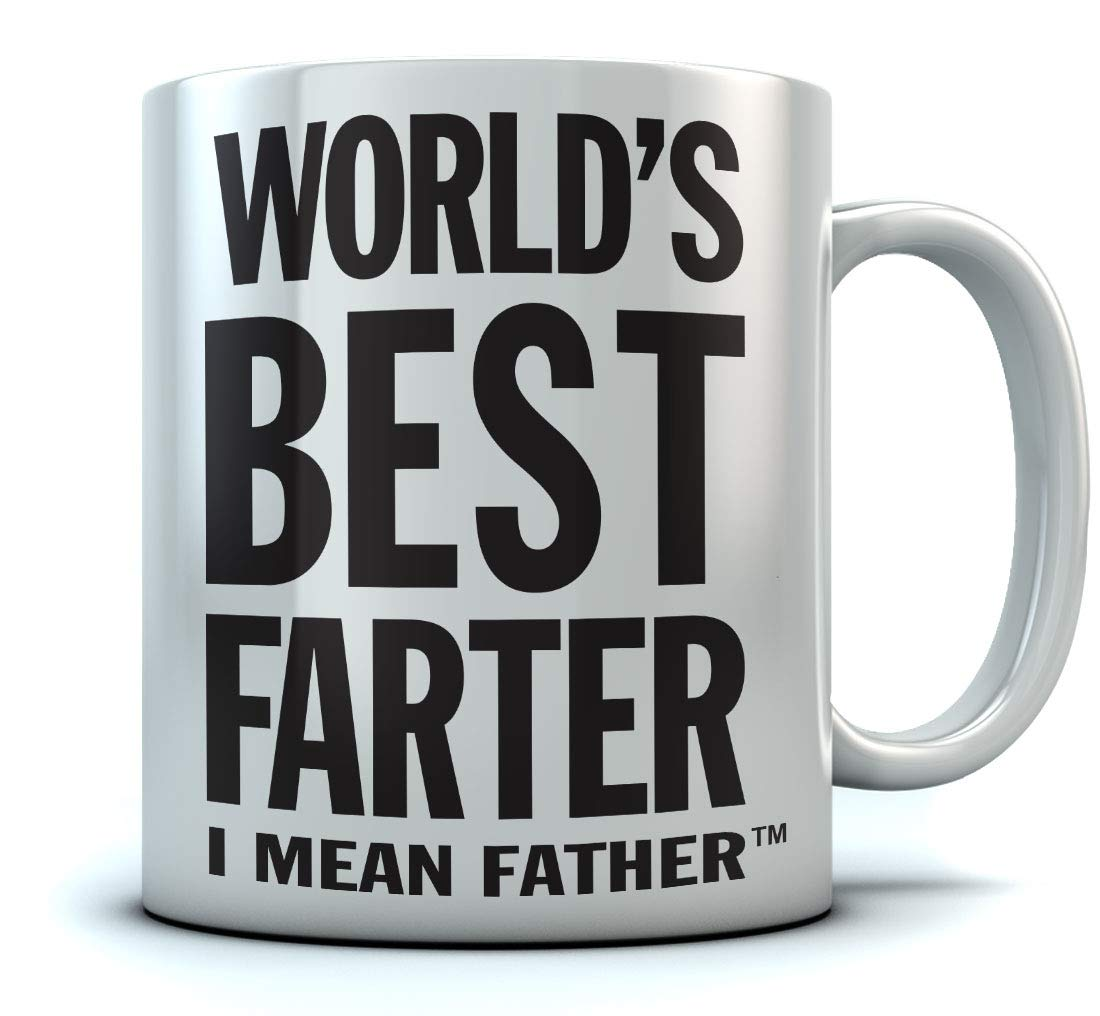 Tstars World's Best Farter, I Mean Father Coffee Mug Christmas, for Dad, Grandpa, Husband from Son, Daughter, Grandson, Granddaughter, Wife Birthday Gift for Men Ceramic Mug 15 Oz. White