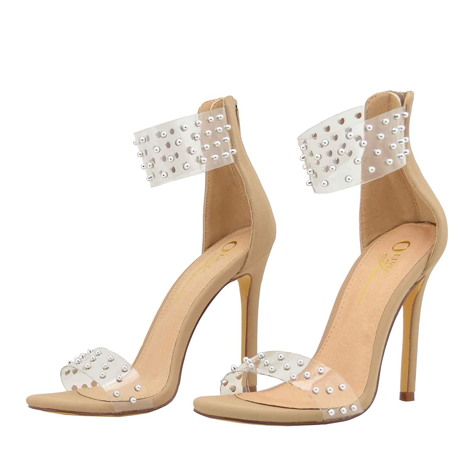 5a68af097d Amazon.com | Embellished Silver Tone Stud Clear Transparent Lucite One Band  Ankle Strap High Heel Sandals for Women | Heeled Sandals