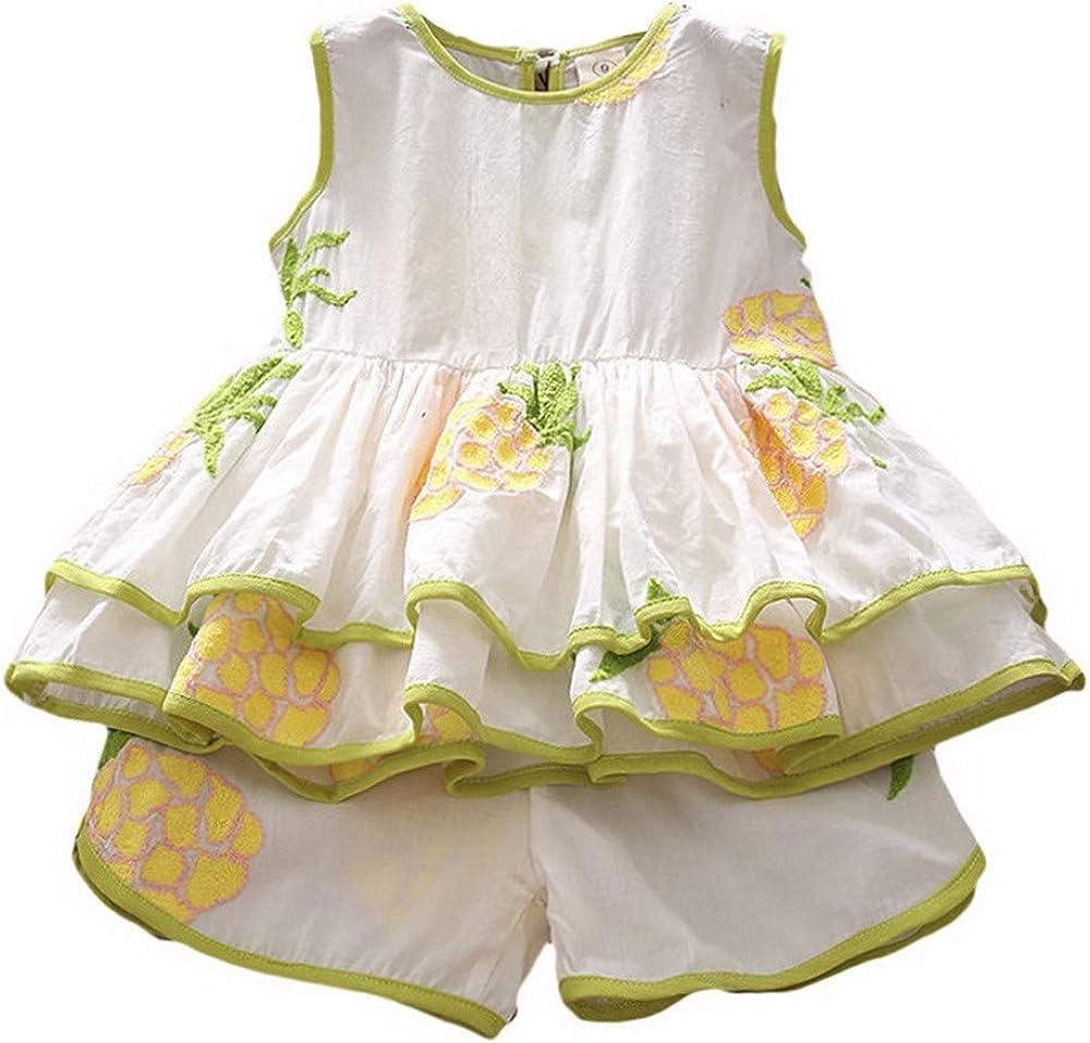 puseky 2pcs//Set Girls Clothing Sets Summer Sleeveless T-Shirt+Shorts Pineapple Fruit Suit
