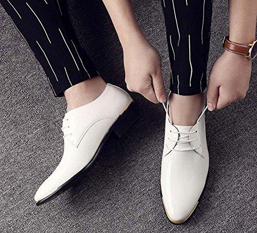 Traspiranti Britanniche MYI Sposa Scarpe Uomo Scarpe in da da da Pelle Sera Scarpe Punta Lavoro a Scarpe Primaverili Scarpe bianco Brillanti da wwaCTqS