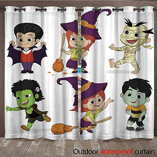 RenteriaDecor Outdoor Curtains for Patio Sheer Happy Halloween Set of Cute Cartoon Children in Colorful Hallow W72 x L108