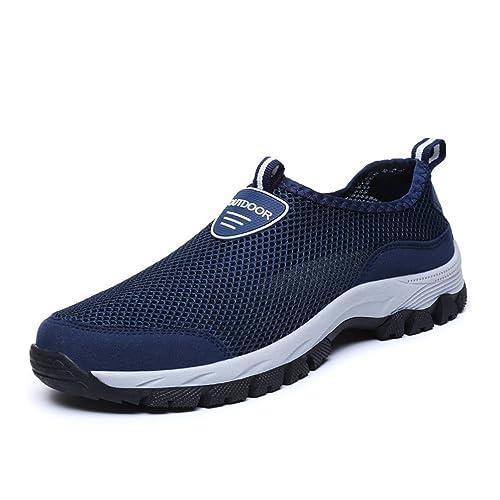 8d8ddec95a Homme Chaussure Basket Mode de Sport Outdoor en Textile Respirant sans  Lacet Sneaker Chaussure pour Courir