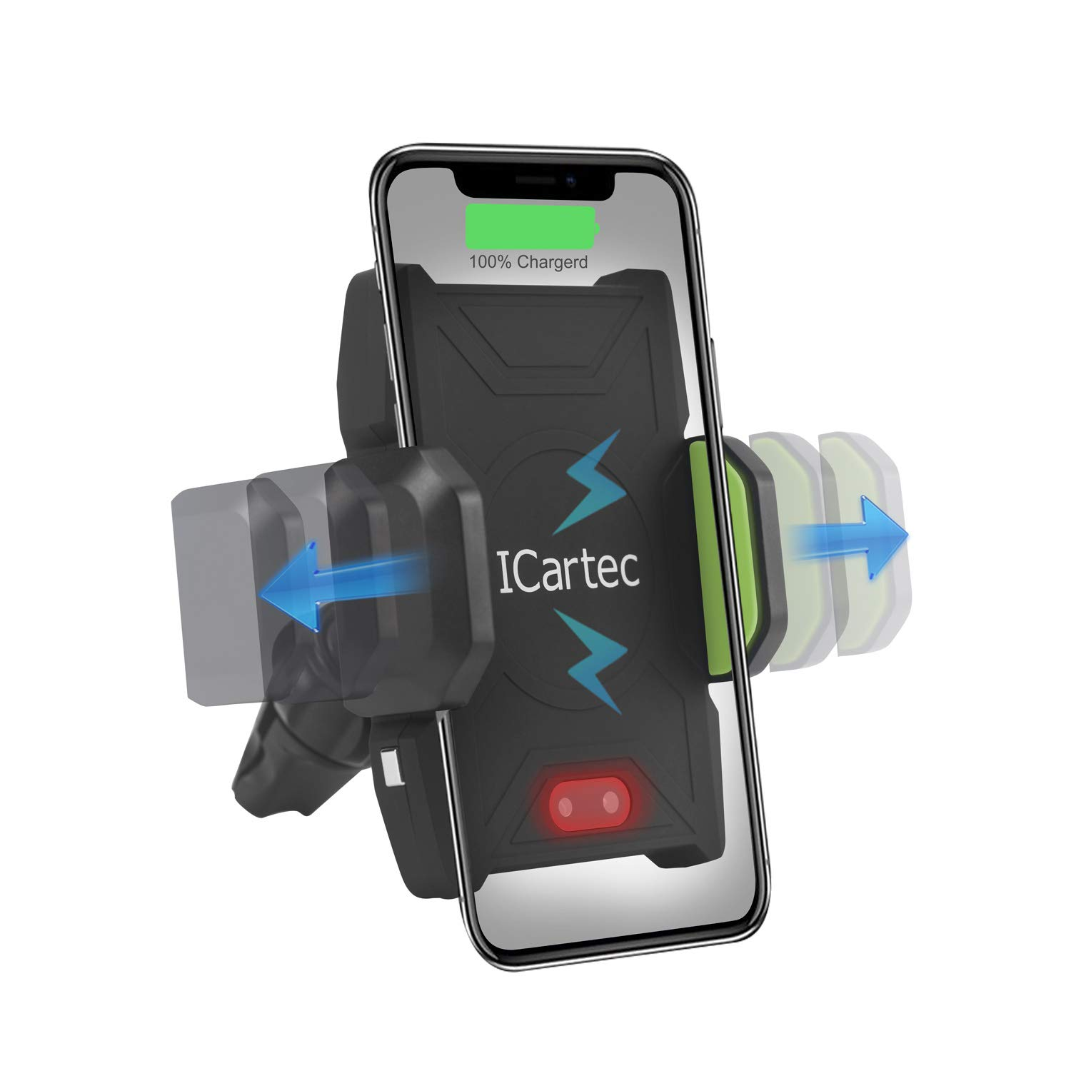 Qi Wireless Car Charger, Wireless Fast Car Mount Air Vent, Phone Holder Fast Charge 10W for Samsung Galaxy S8/S9/Note 8, iPhone X/8/8 Plus and All QI-Enabled Devices, Infrared Motion Sensor Automatic by ICartec