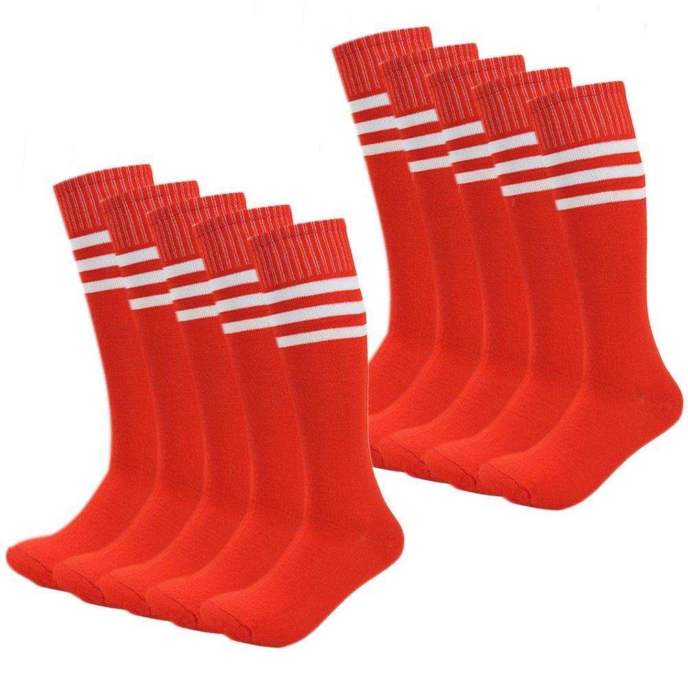 Kids Soccer Socks Wholesale 50 Pair Teenager Knee Long Compression Team Socks (Red)