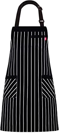 ALIPOBO Aprons for Women and Men Kitchen Chef Apron with 3 Pockets and 40 Long Ties Adjustable Bib Apron for Cooking Serving - 32 x 28 - Black/White Pinstripe - 1 Pcs