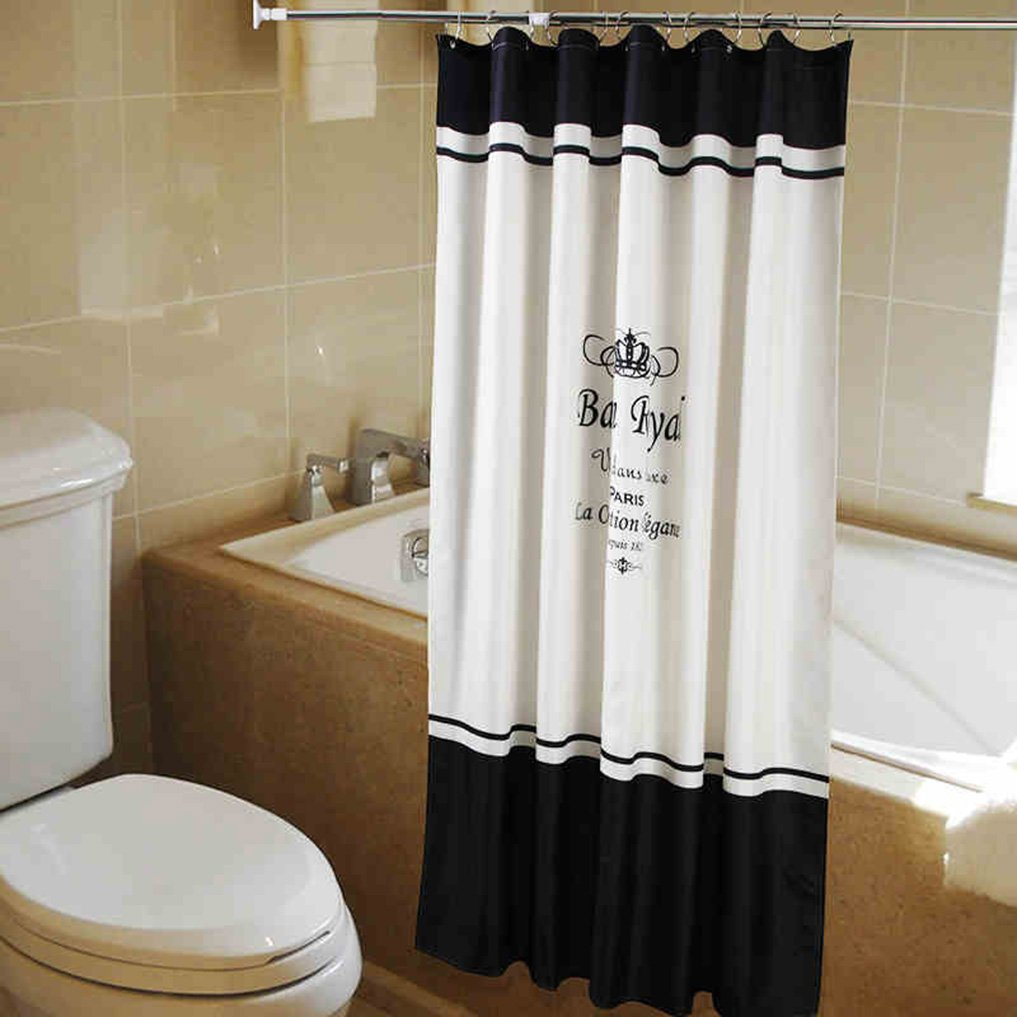 Ipara Home Bathroom Curtain Polyester Cloth Waterproof Shower Curtain Classic Black White