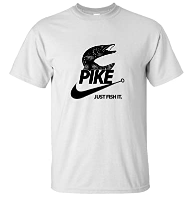 0e22f0ff Pike Just Fish It White Funny T-Shirt Pike Fishing Funny t shirt:  Amazon.co.uk: Clothing