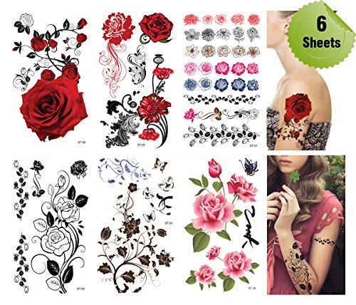 Supperb® Mix Flower Temporary Tattoos / 6-pack -