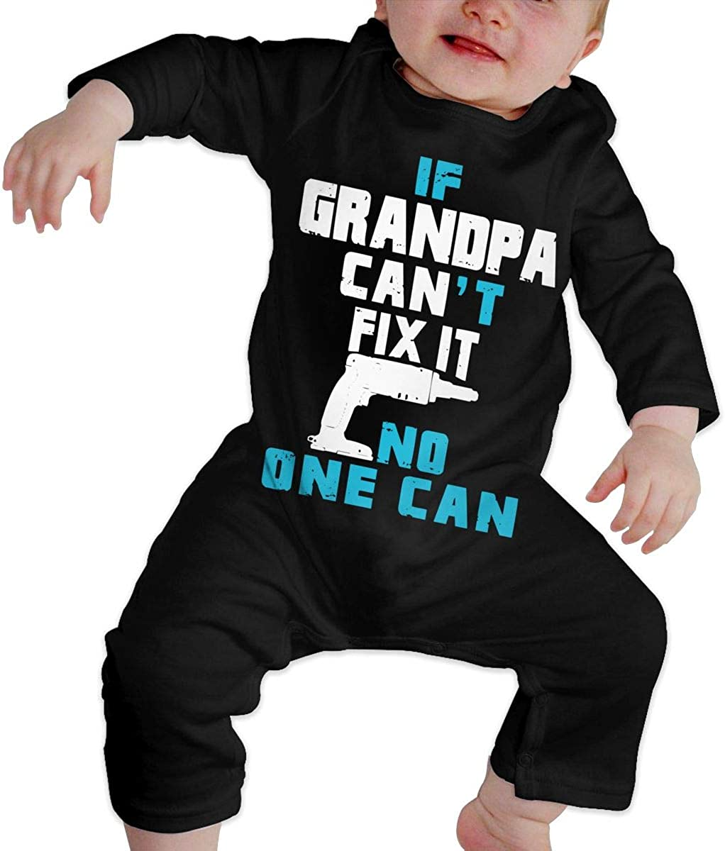 If Grandpa Cant Fix It No-one Can Printed Baby Boys Girls One-Piece Suit Long Sleeve Outfits Black