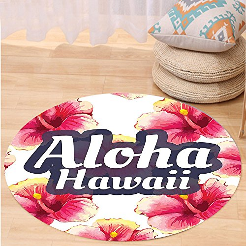 VROSELV Custom carpetHawaiian Decorations Collection Aloha Hawaii Tropical Flowers Floral Ornament With Wildflowers Classic Design Bedroom Living Room Dorm Round 72 inches by VROSELV