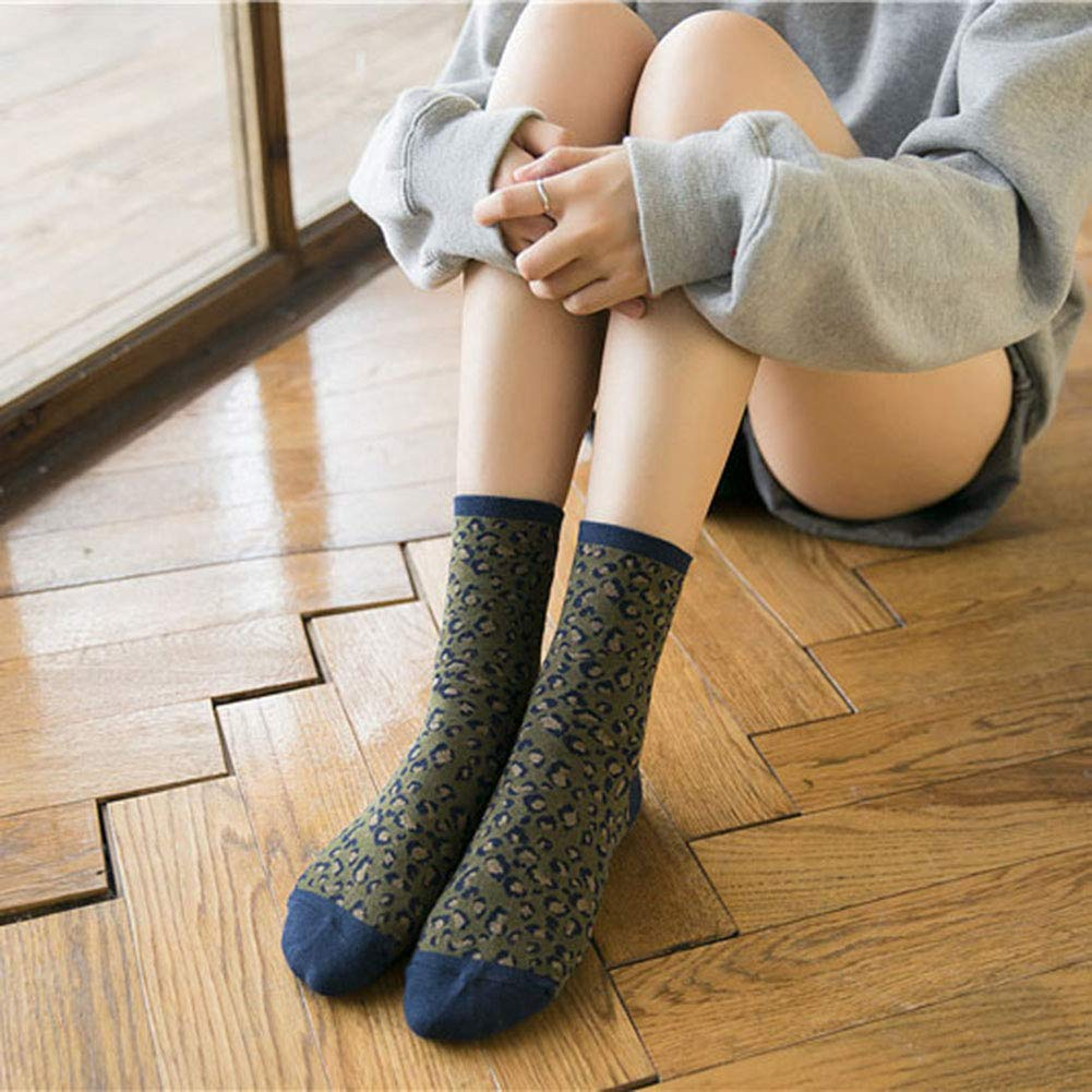 Jiacheng29 Vintage Leopard Print Socks,Womens Breathable Cotton Middle Tube Crew Socks