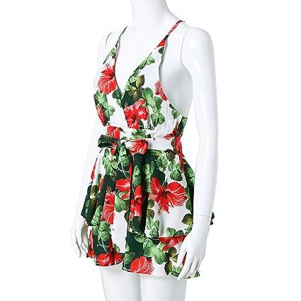 a09917ad08 Holywin Mini-Short imprimé Floral à col en V pour Femme Bandage Fête sur la  Plage Combi-Short Barboteuse: Amazon.fr: Vêtements et accessoires